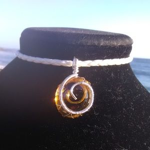 Silver Wrapped Faux Amber White Leather Necklace